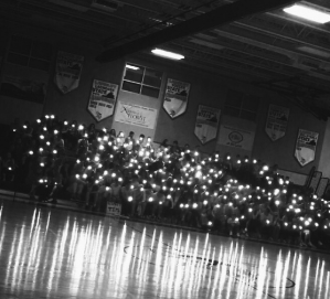 View of the Langley student section during the James Chen memorial on January 31. (photo by Julia McElligott)