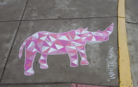 Art classes draw chalk animals for Earth Day