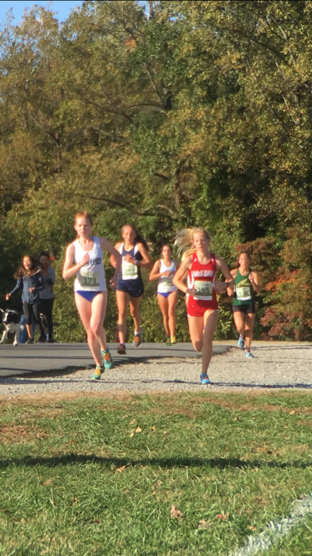 A race to the finish- Sophomore Natalie Flint strives to beat her opponents and place in the top 15 in her race.