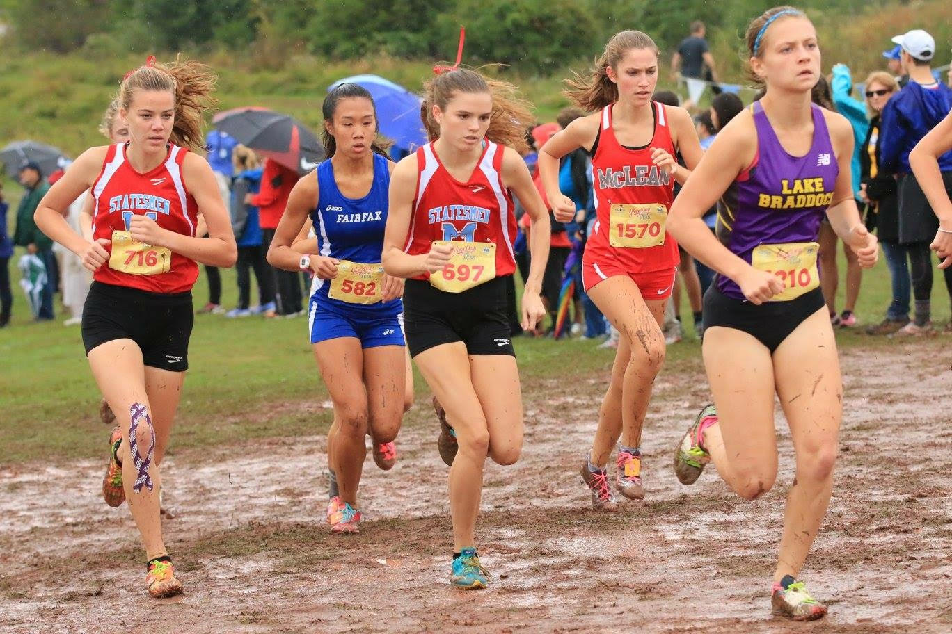 Caroline Howley, a McLean cross country co-captain, competes at muddy race along with other local high schools.