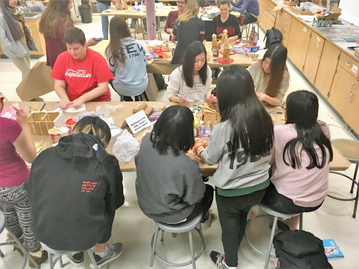 Advanced art students work on their replicas of famous buildings. (Photo by Sabrina Vazquez)