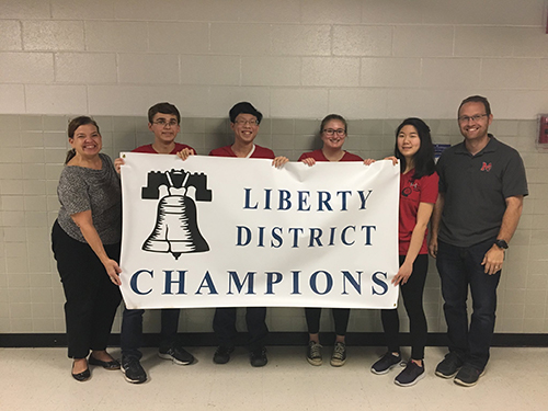 McLean Scholastic Bowl Team wins the Liberty District tournament. Carson Flickinger, Justin Young, Mara Kessler and Grace Chung will compete in the regional tournament at Madison High School this weekend.