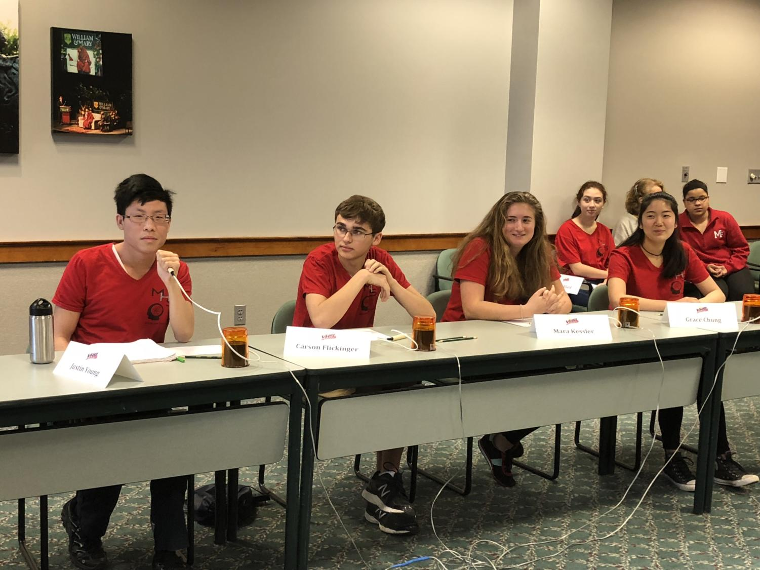 The Scholastic Bowl team is seen here in action. From left to right Justin Young (10),  Carson Flickinger (12), Mara Kessler(11) and Grace Chung(11). (Photo courtesy of Lindsay Benedict)