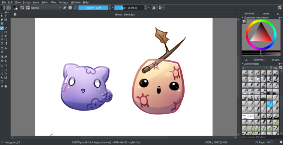 A depiction of a pair of cartoon slimes that was created in Krita