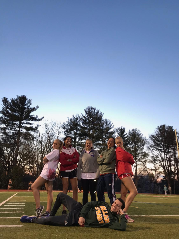 Seniors (from left to right) Erin Moloney, Katy Medicherla, Anna Brower, Peggy Zeng, Shannon Moloney and Rustin Abedi pose on their Senior Night. (Photo courtesy of Katy Medicherla)