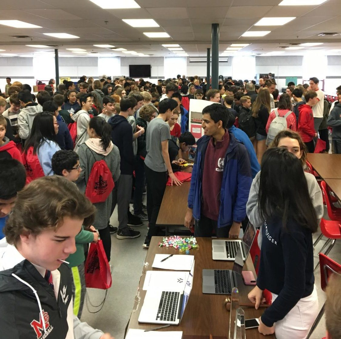 Longfellow eighth graders explore the activities fair in the cafeteria on Friday, April 6.