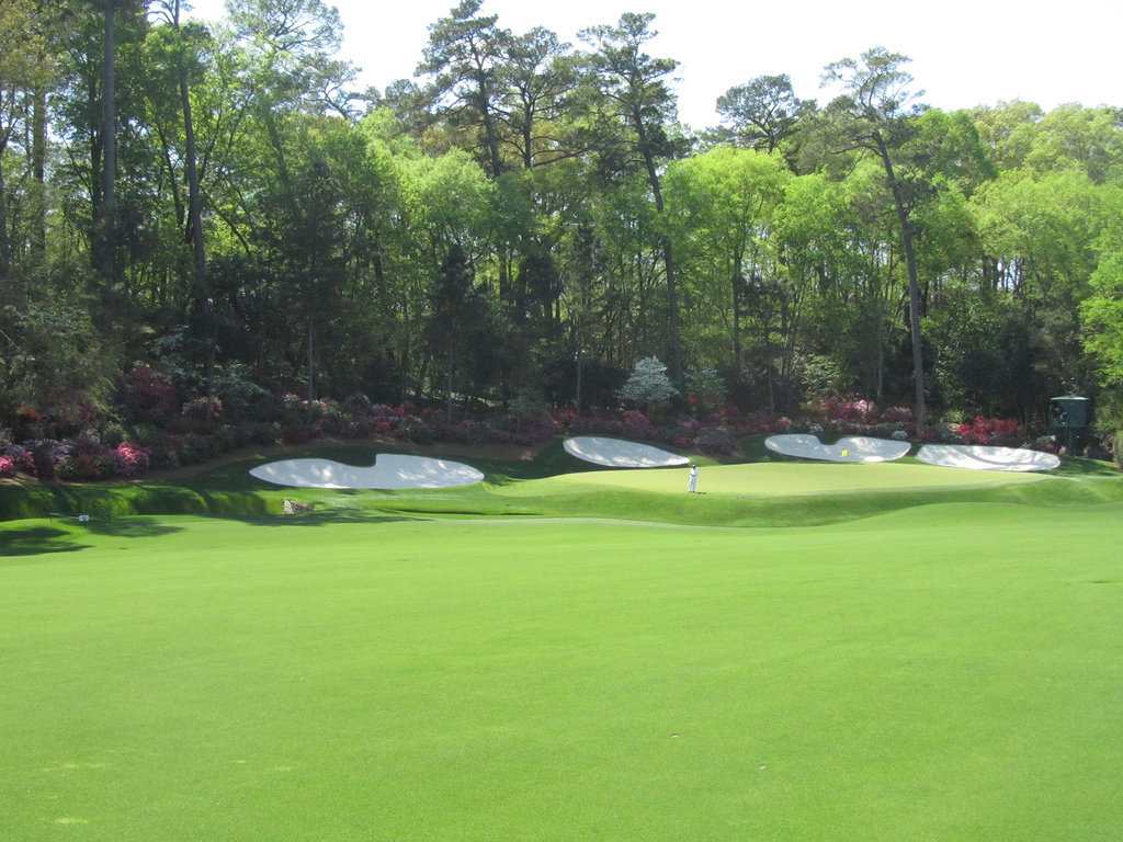 The iconic thirteenth hole at the Augusta National Golf Course. Photo obtained via Creative Commons