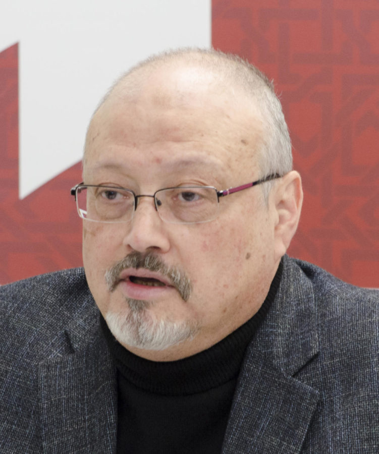 Jamal Khashoggi speaks at a press conference in March.