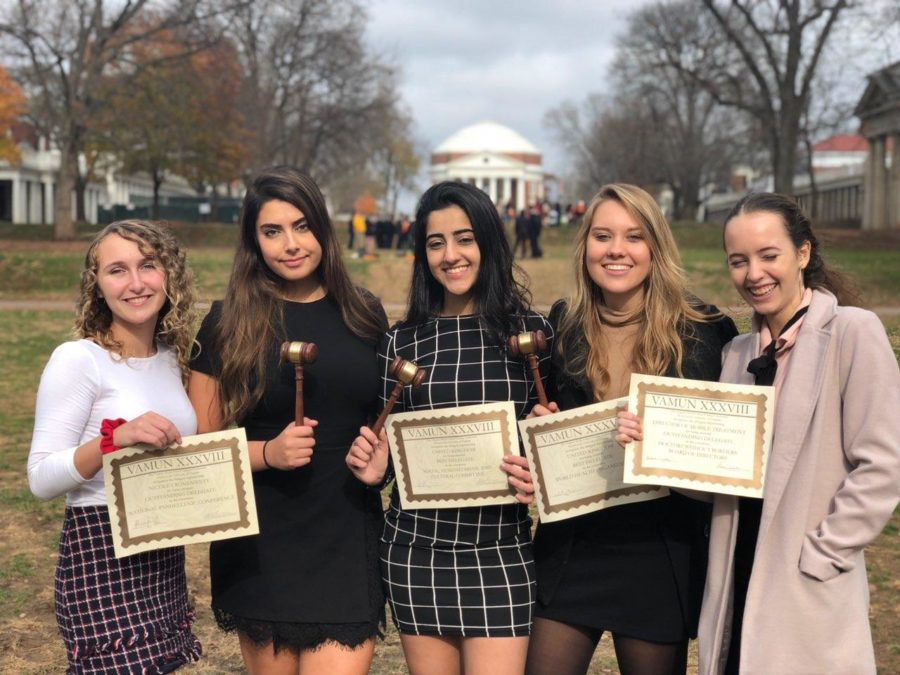 Seniors+Maria+McHugo%2C+Noor+Al-Saloum%2C+Neha+Rana%2C+Zoe+Lynes%2C+%26+Asia+Kurtalic+pose+with+their+awards.+McLean%27s+MUN+team+received+the+Outstanding+Large+School+award+at+the+conference%2C+as+well+as+many+individual+awards.+%28photo+courtesy+of+Maria+McHugo%29.