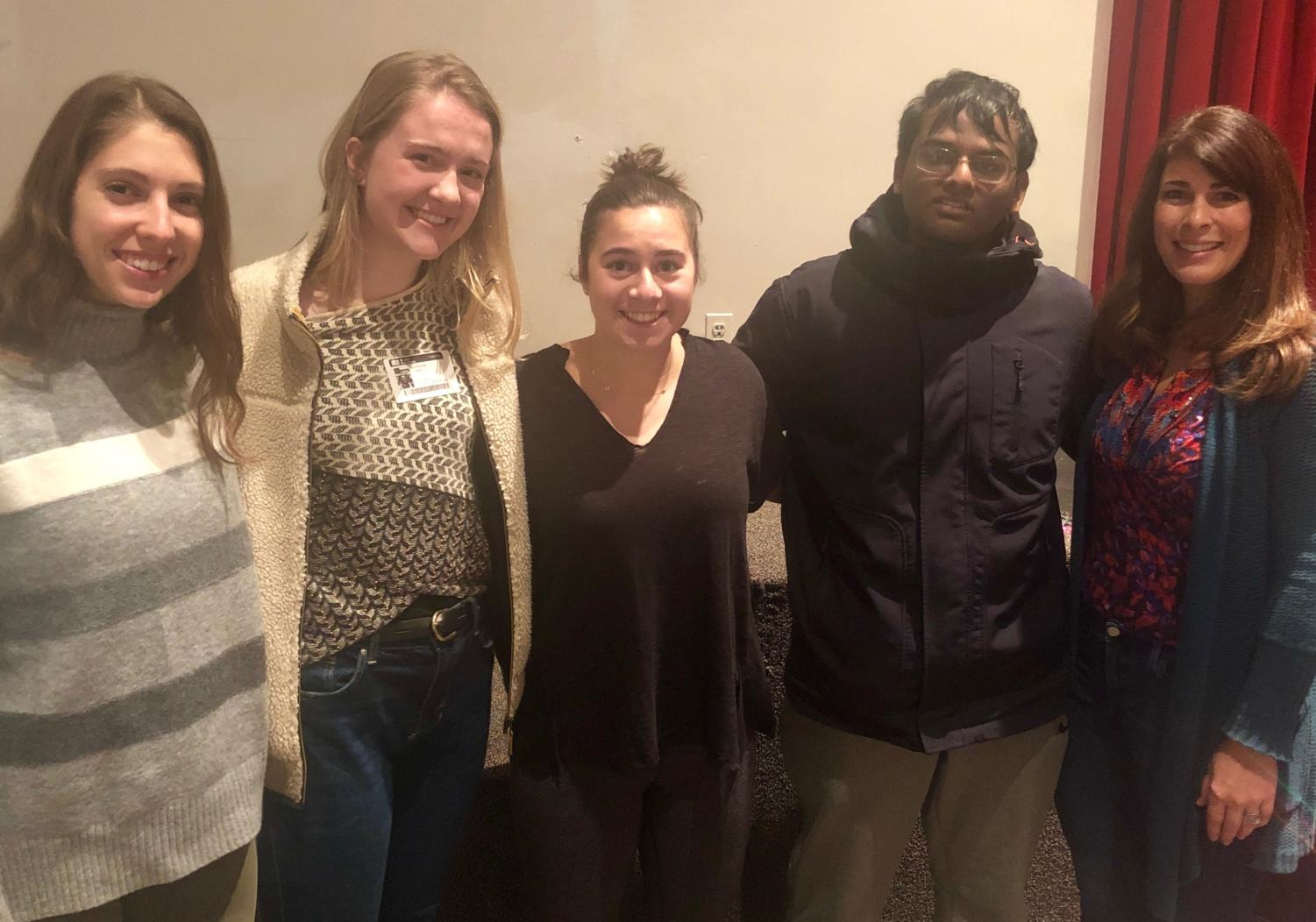These four McLean alumni (from left to right: Olivia McAuliffe, Caroline Lewis, Grace Roomian, Karthik Natarajan and Career Center Specialist Laura Venos) came to the auditorium on Wednesday. They shared their best advice and personal anecdotes to help students on their journeys towards college.