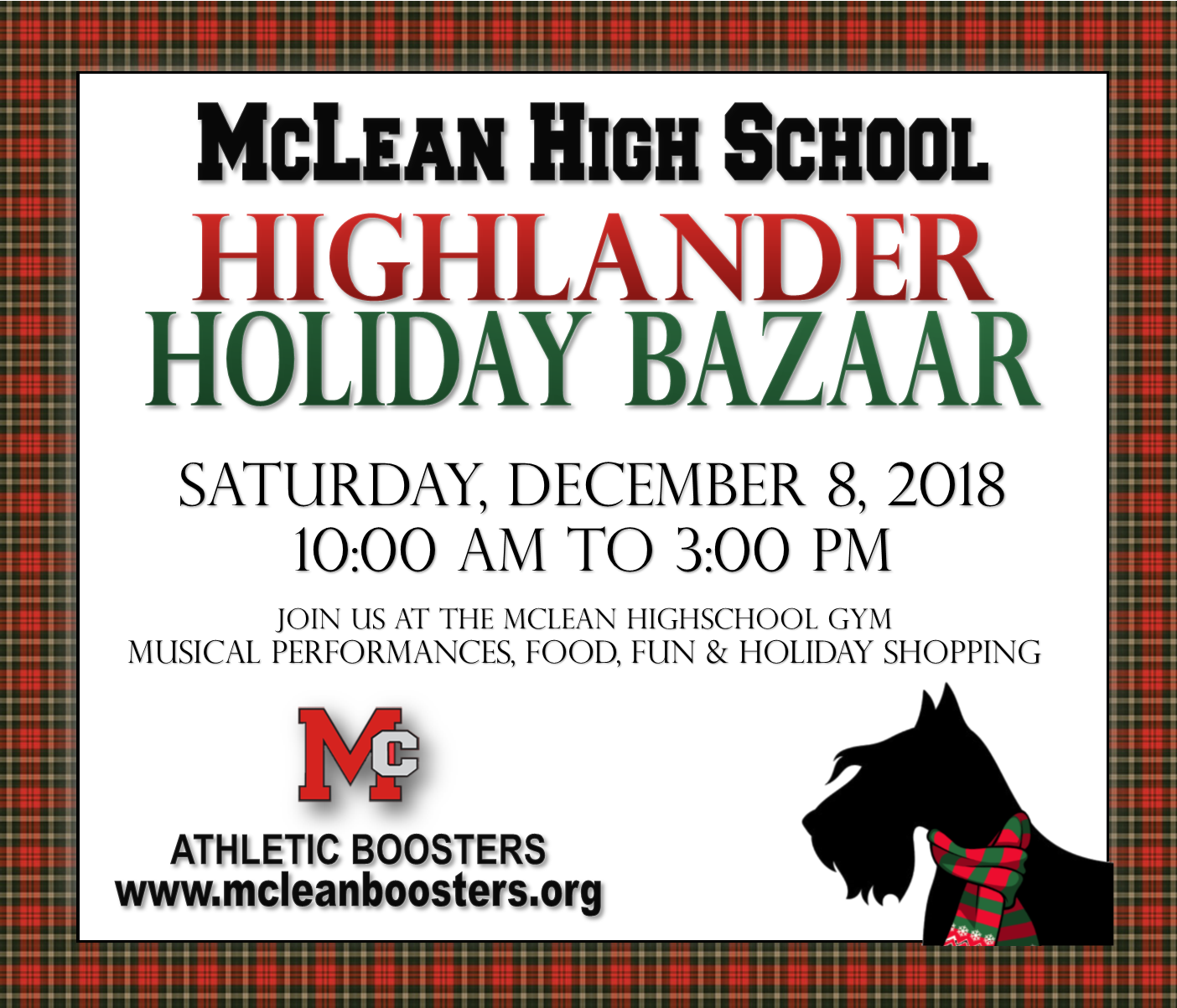 Online advertisement for the 2018 McLean holiday bazaar
