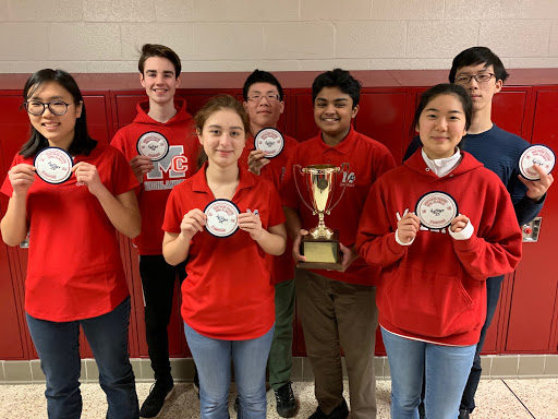 From left to right, members of the Quiz Bowl Club Janna Serrao (junior), Nathan McCarley, Tiara Allard (junior), Justin Young (junior), Nischal Dinesh (junior), Grace Chung and Eunkyoon Lee hold their awards. The team will compete in the Super-Regionals at Robinson Secondary School on February 2 (Photo Courtesy of Tiara Allard).