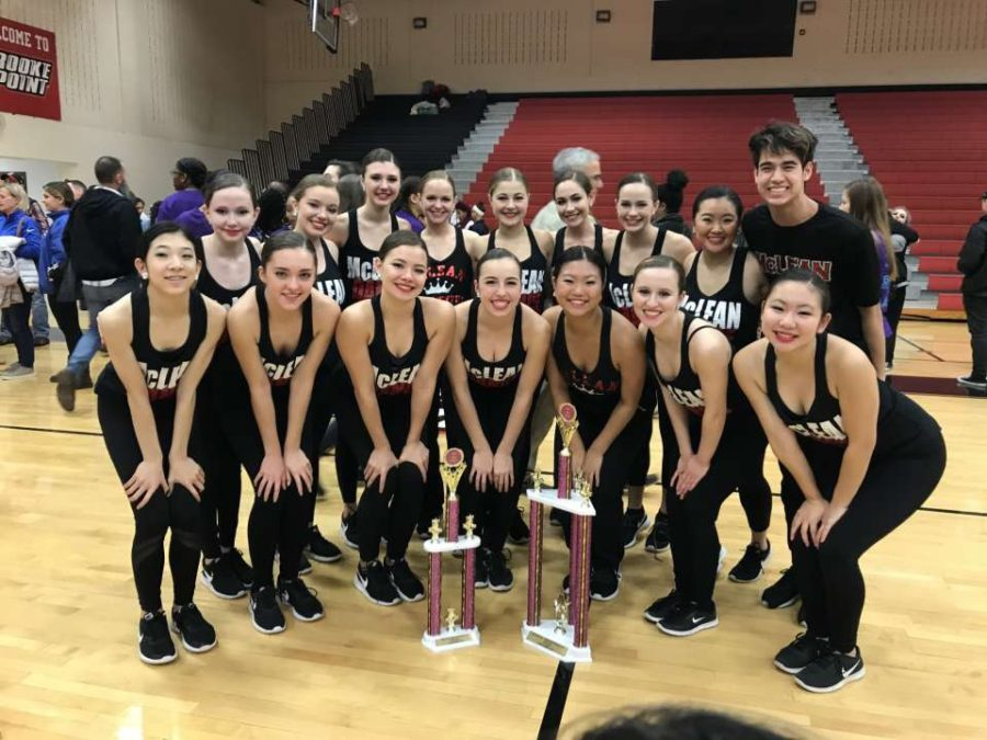 McLean Dance team poses with their trophy after winning the Brooke Point Invitaitonal on Jan. 19.