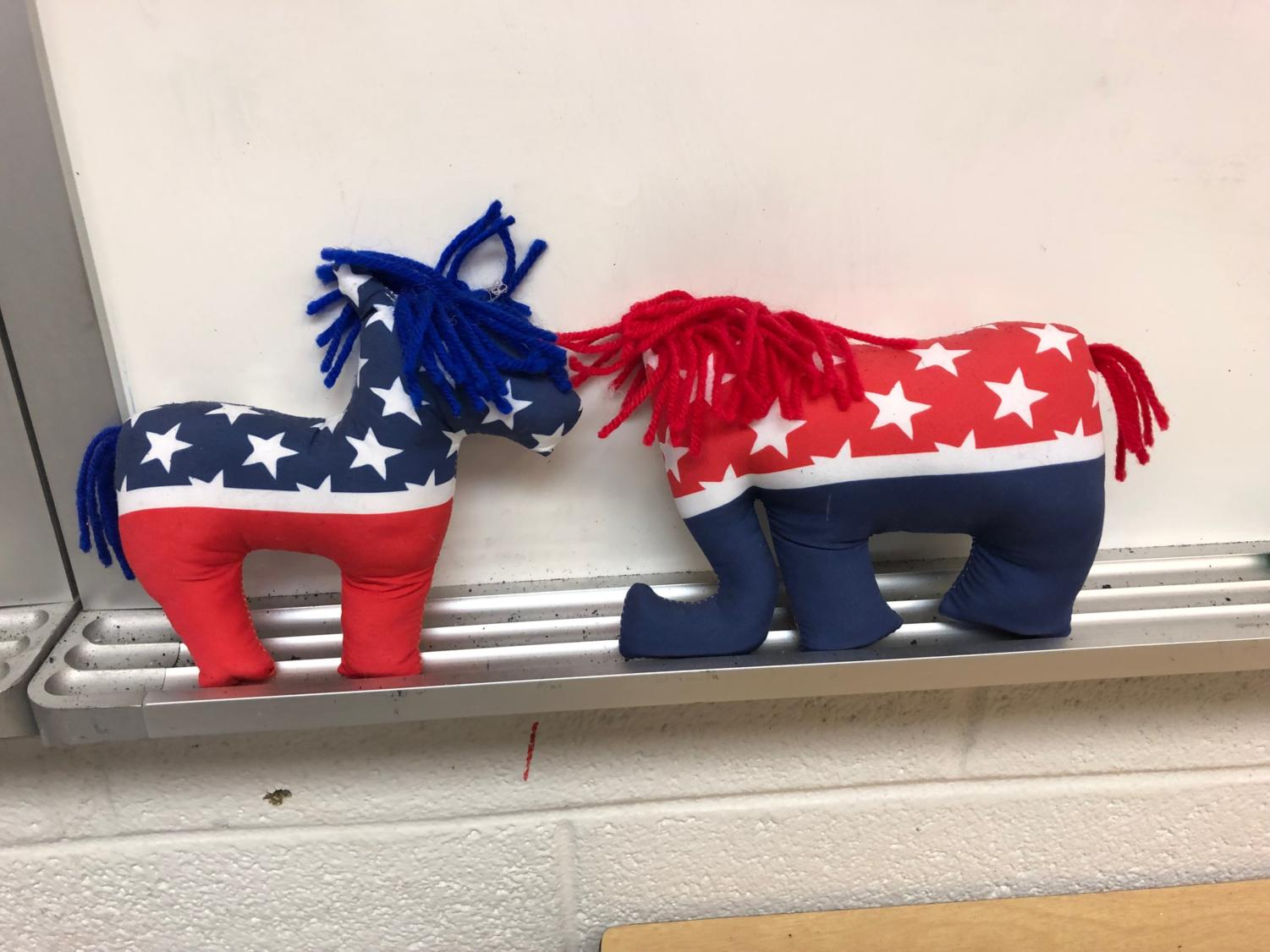 Left vs. Right-- These Democrat and Republicans stuffed animals in government teacher Rachel Baxter's classroom display the political tension
