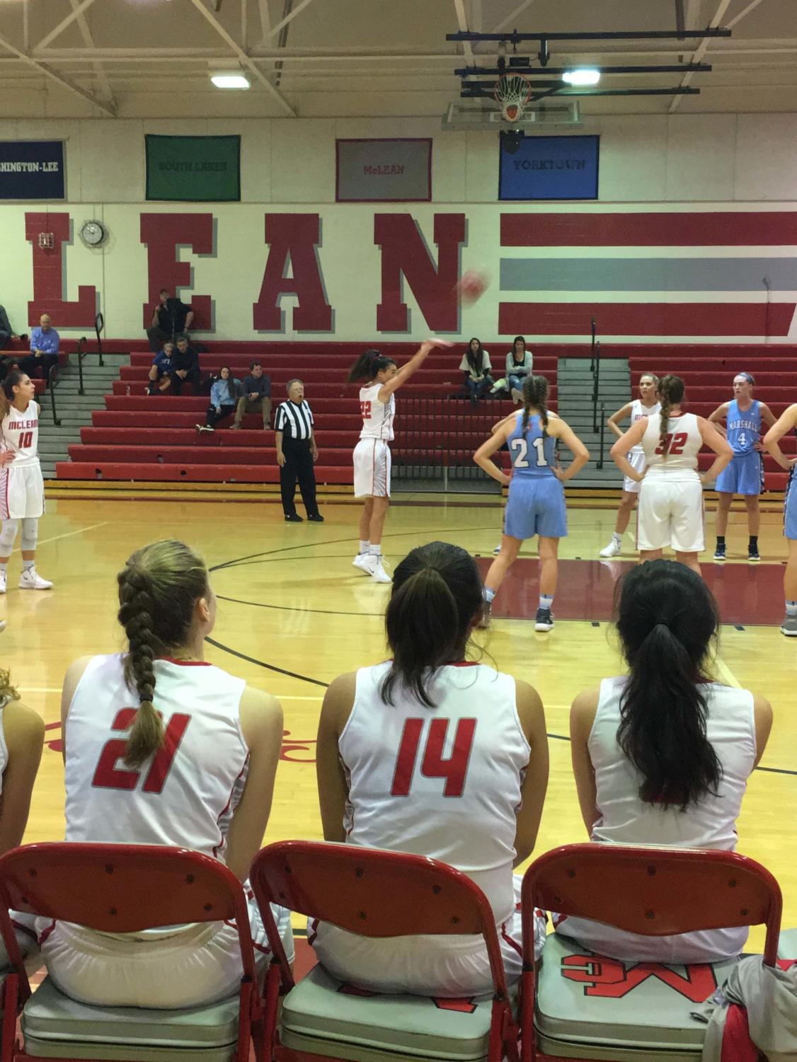 SHOOTING TWO — Mia Fitzgerald shoots a free throw in the home game against Marshall on Dec 4. The Highlanders won the game 73-67. (Photo by Emily Friedman)