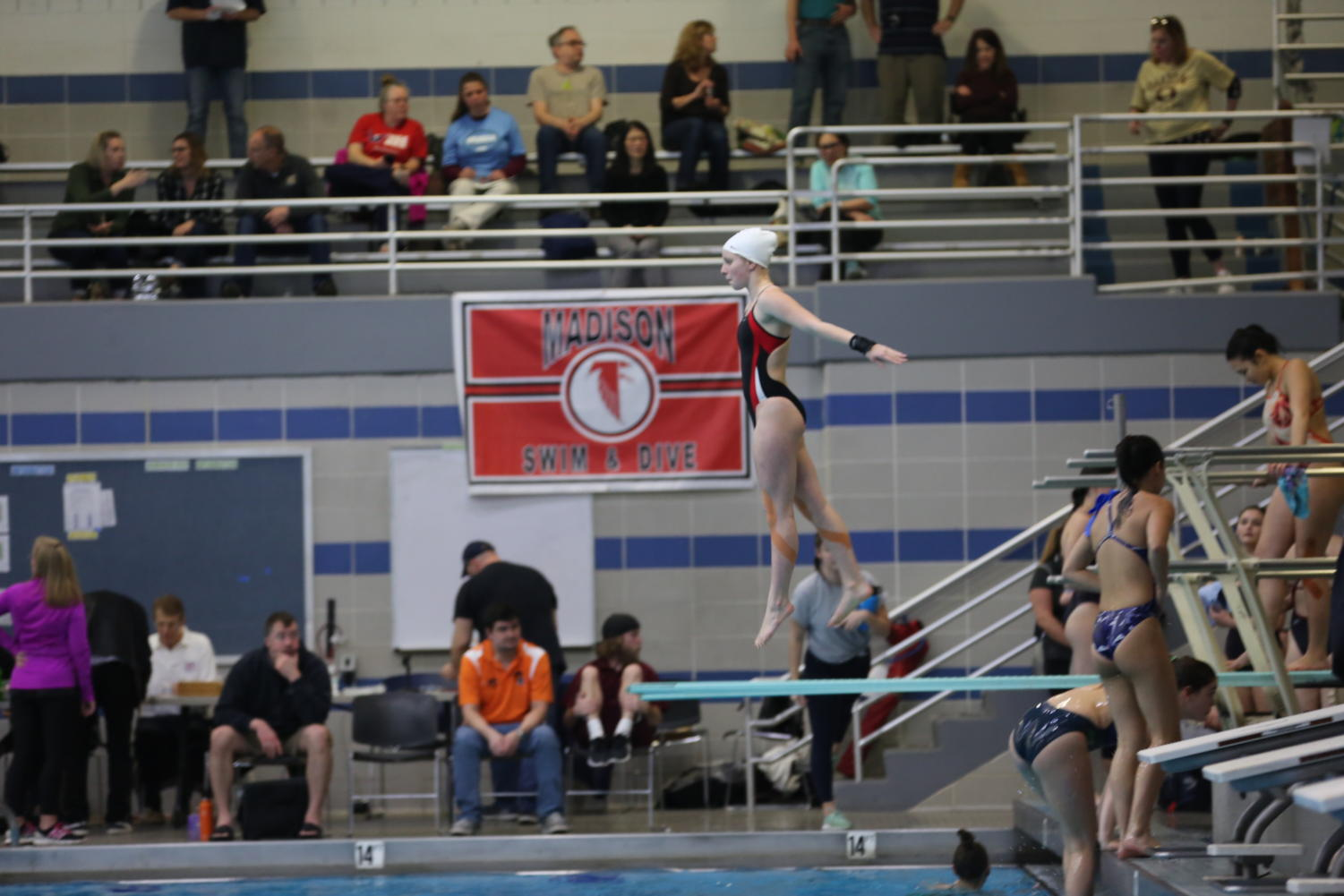 Zazi Halla prepares for her dive in the girls' one-meter division at states. She finished in fourth place.
