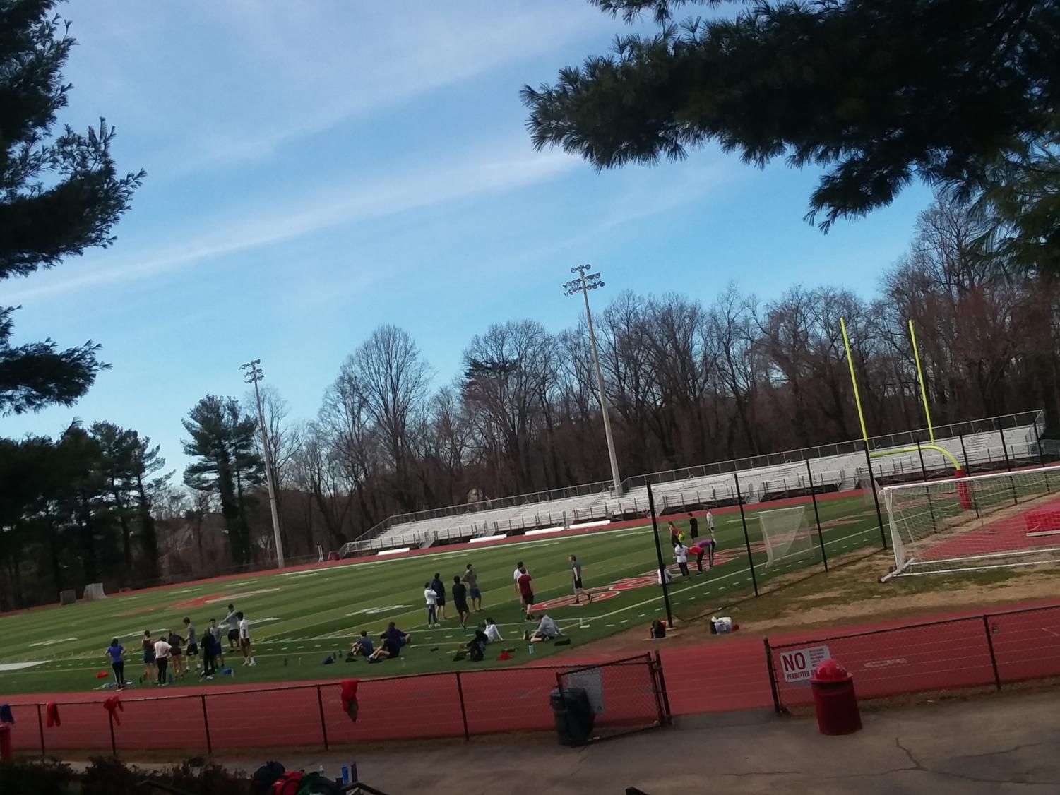 The McLean track team practices on a beautiful Monday evening in the stadium.