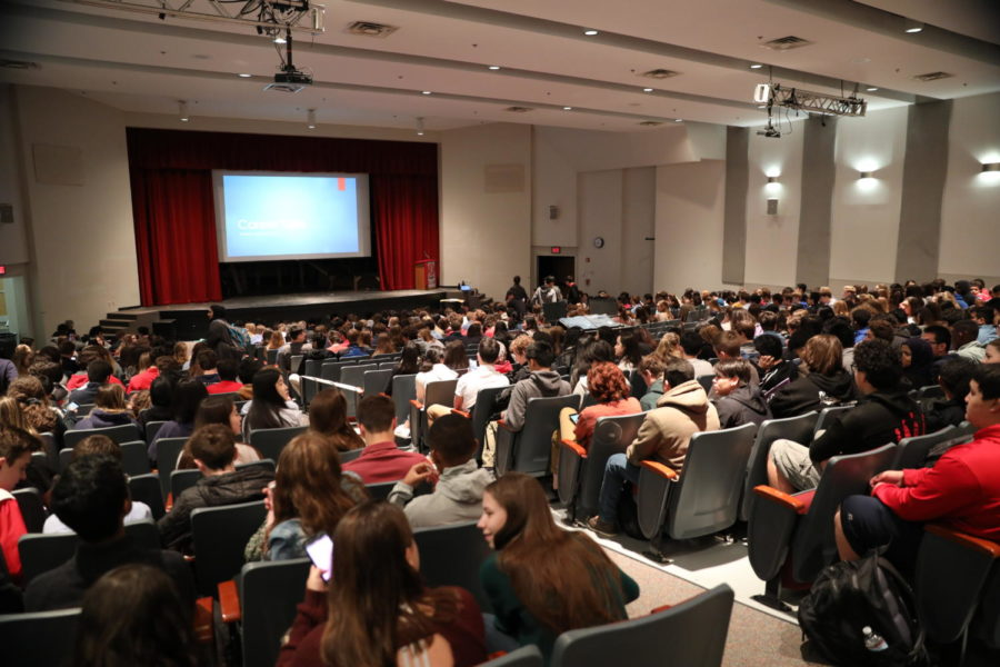 Sophomores waits in the auditorium for Career Talks to start. Students explored a variety of career clusters during the event.