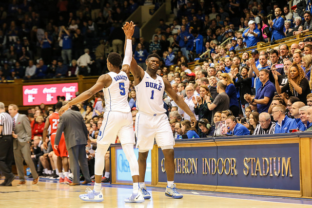 Duke%27s+Zion+Williamson+and+RJ+Barret+in+a+regular+season+game.+The+duo+have+fueled+Duke%27s+March+Madness+run+this+year.