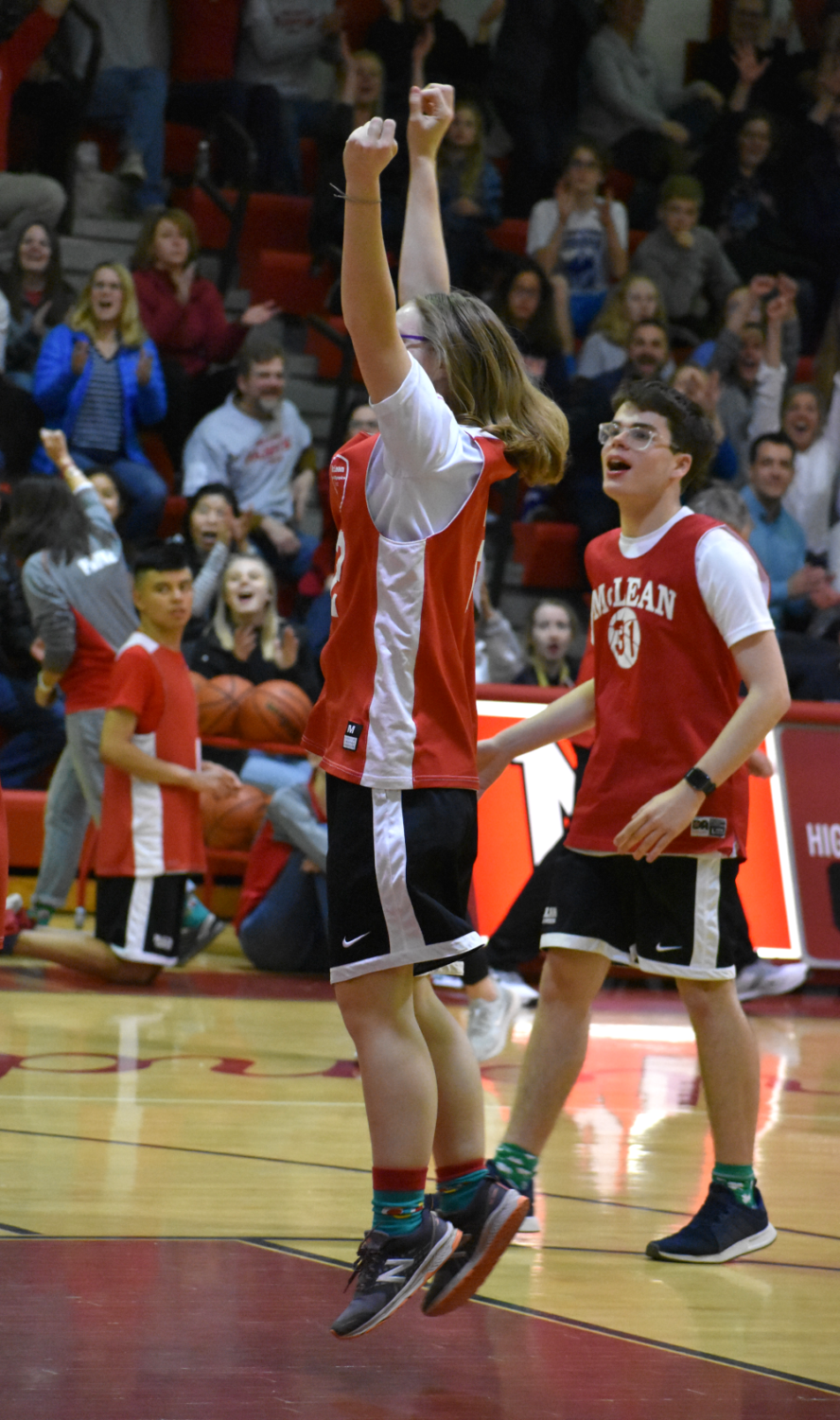 Maia+Stewart+celebrates+after+scoring+her+first+basket+of+the+game%2C+seconds+before+the+fourth+quarter+buzzer.+%28photo+by+Maren+Kranking%29