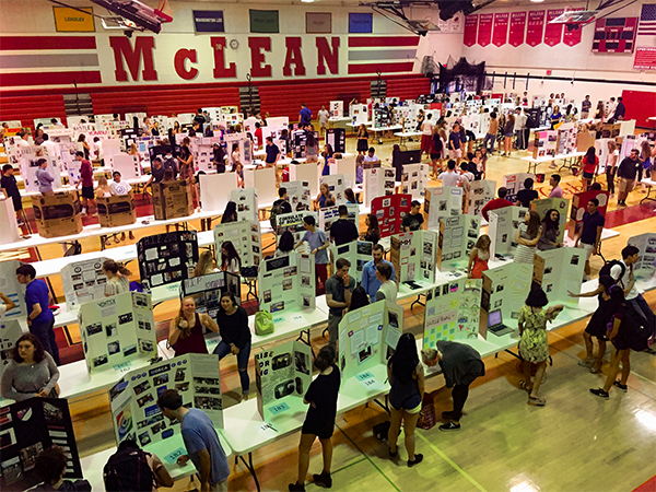 Last year's seniors present their internship displays in early June before graduation. This event allows students to learn about the internship programs they can participate in and what majors or careers they may be interested in pursuing in the future. (Photo courtesy of Laura Venos)