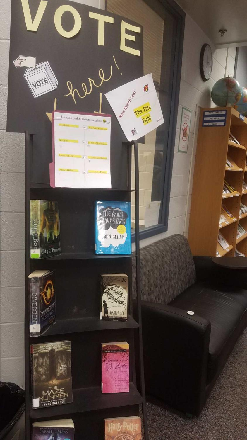 Get out there and vote- This photo shows the cart where students can vote for their favorite book. (Photo taken by Cordelia Lawton)