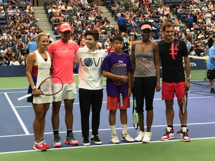 Nathan poses with several tennis stars, including Rafael Nadal, Venus Williams and Roger Federer. Nathan was inspired by many of these professional players. Photo courtesy of Nathan Nguyen