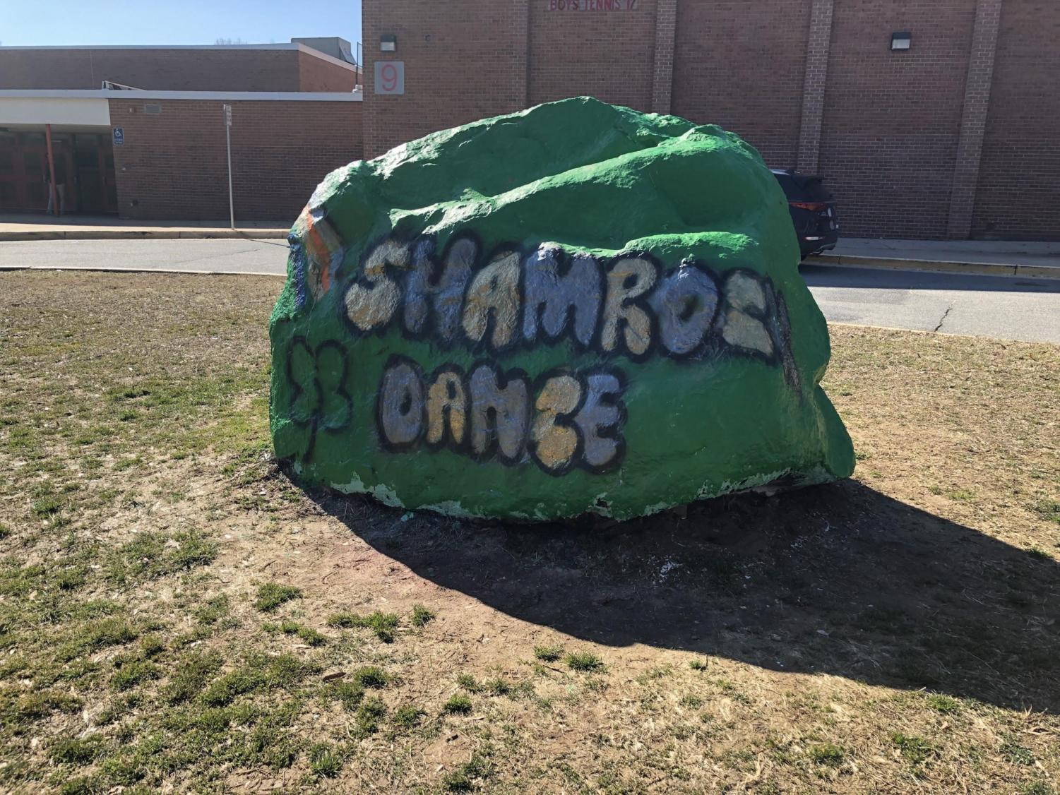 The McLeadership students painted the rock to promote the upcoming dance.