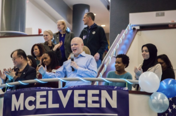 Ryan McElveen kicks off his campaign after giving his campaign speech at an event featuring his future initiatives for the county.