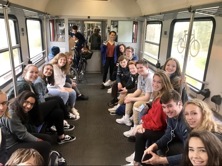 The German students from McLean along with the exchange students from Germany ride the public transportation systems of Germany. Photo courtesy of Miranda Bomersheim.