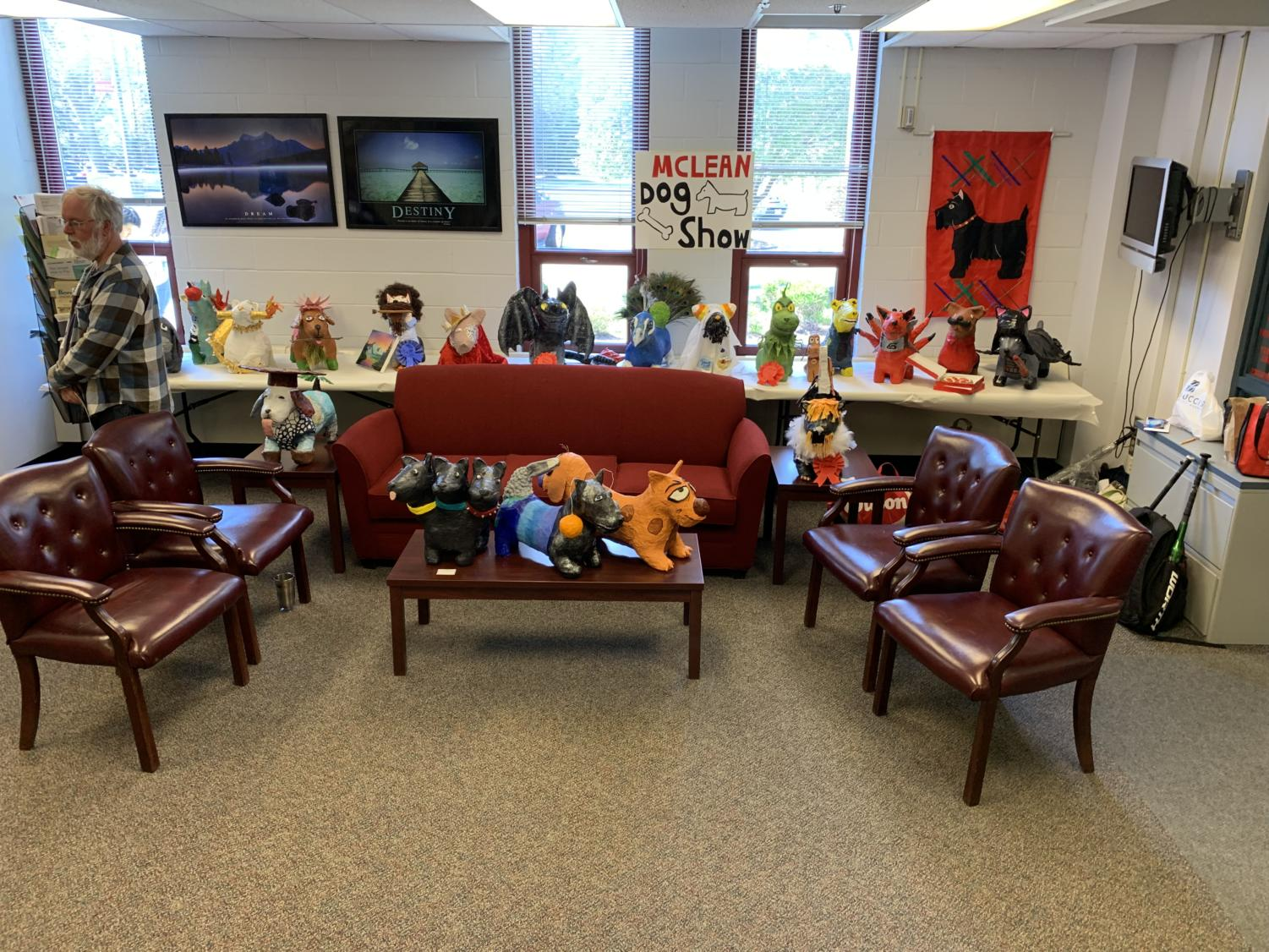 Dog show- Ceramics students created crazy dogs pieces to display for everyone to enjoy in the front office.