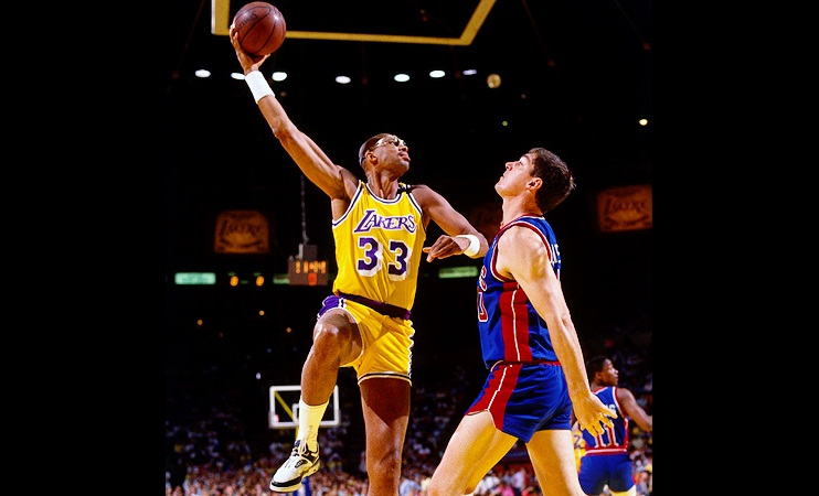 NBA Hall of famer Kareem Abdul Jabar (left) created