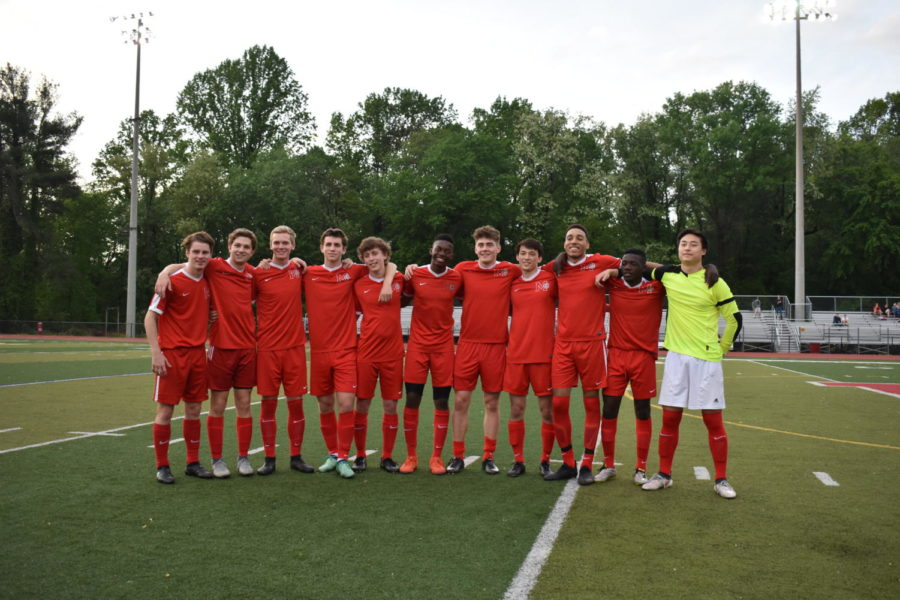 11 of the 12 seniors who are leaving next year line up at senior night after the celebration and right before their game against Herndon. The final score was tied at 3-3.