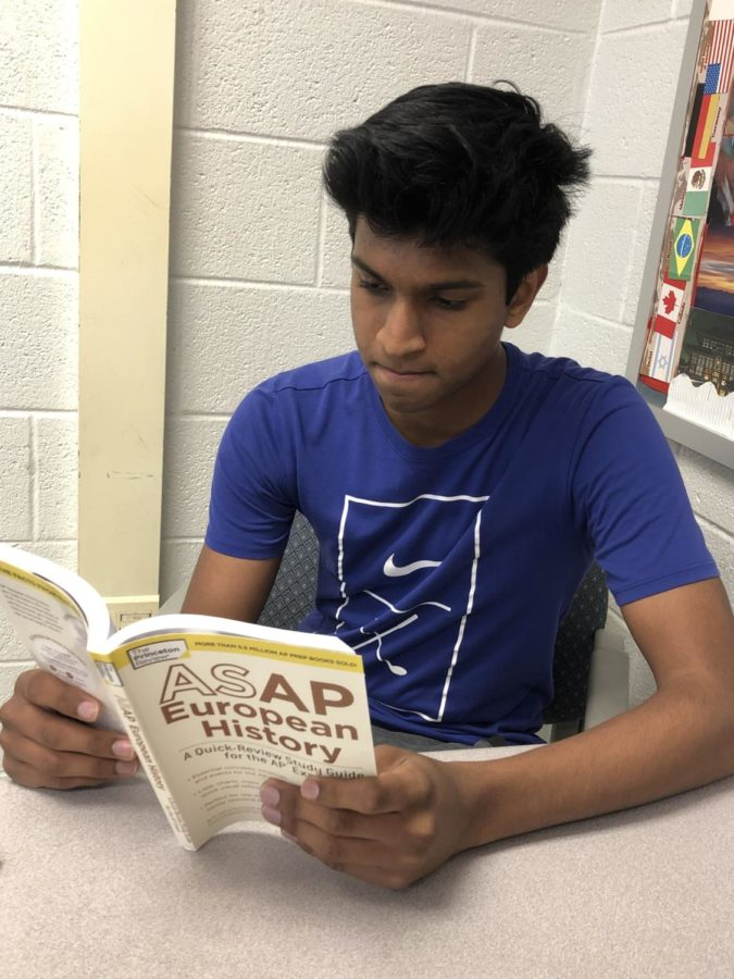 Ever+since+the+AP+exam%2C+sophomore+Anish+Tennepali+utilizes+the+free+time+during+his+3rd+period+AP+World+class+to+study+for+his+AP+European+History+class+next+year.