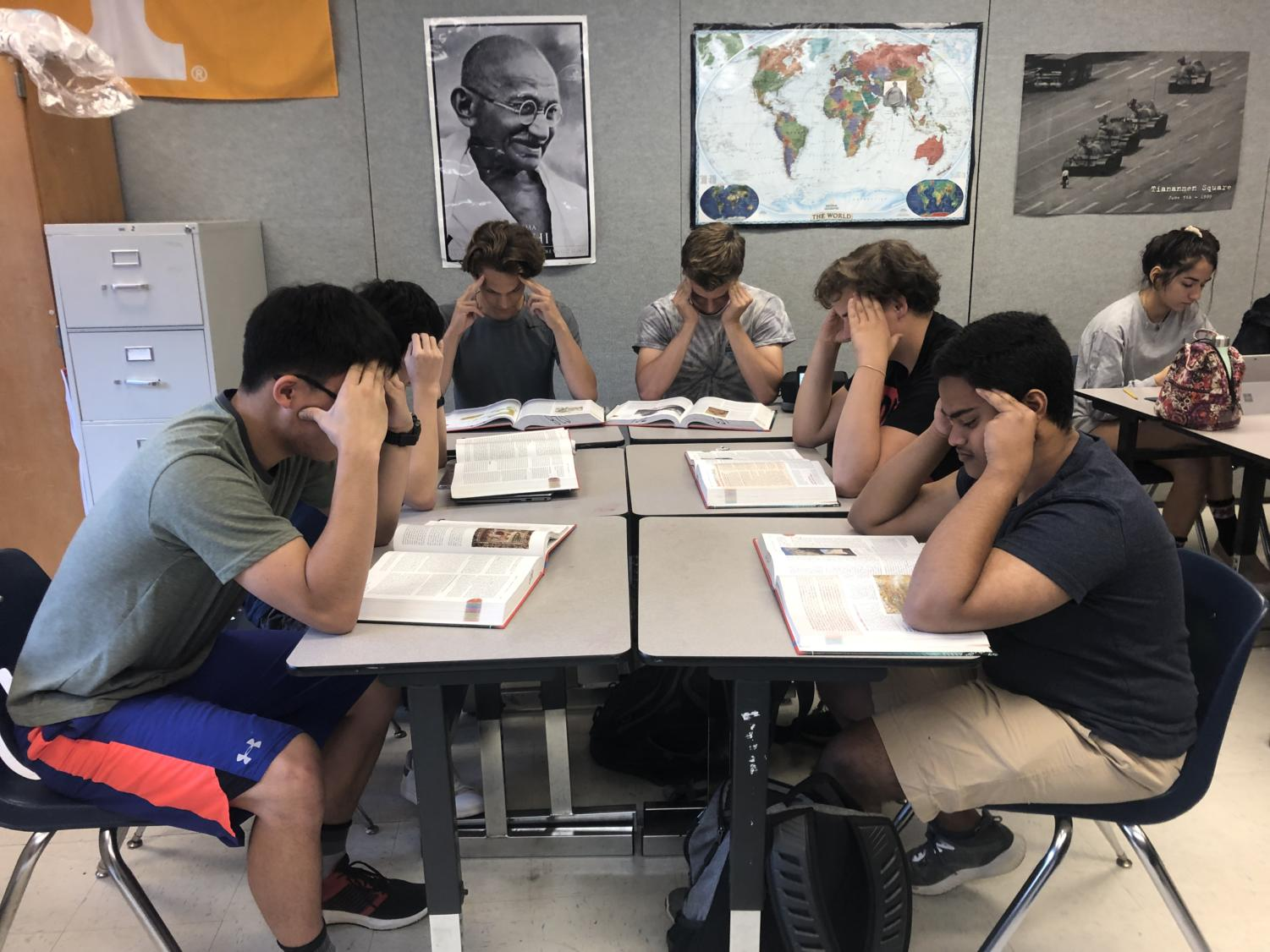 Students struggle with studying for exams. The AP World exam is especially stressful for many sophomores as it is the first AP exam for most students. Photo by Dua Mobin