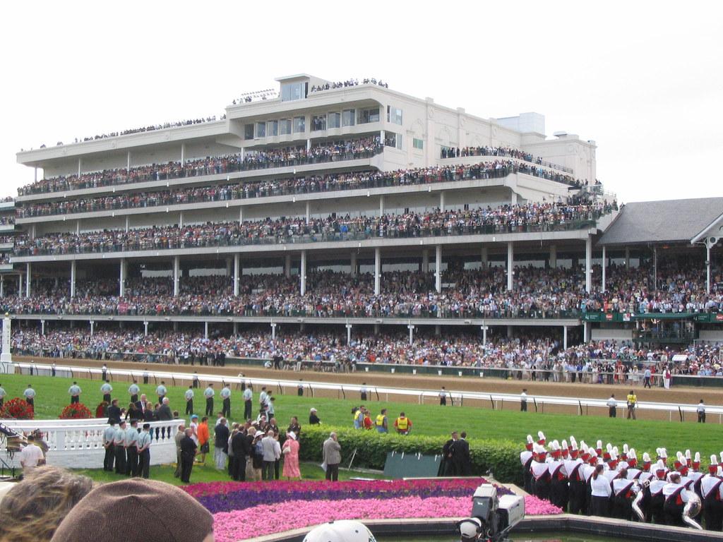 The Kentucky Derby was held here, at Churchill Downs in Louisville, Kentucky. The race has annually been held here since 1875.