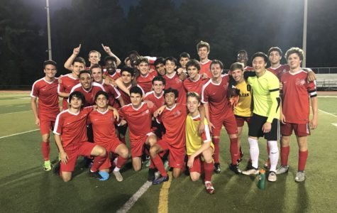 Boys Varsity soccer team after they beat Osbourn 1-0 in overtime. The boys were ecstatic to move on to the next round of regionals. (Photo courtesy of McLean High)
