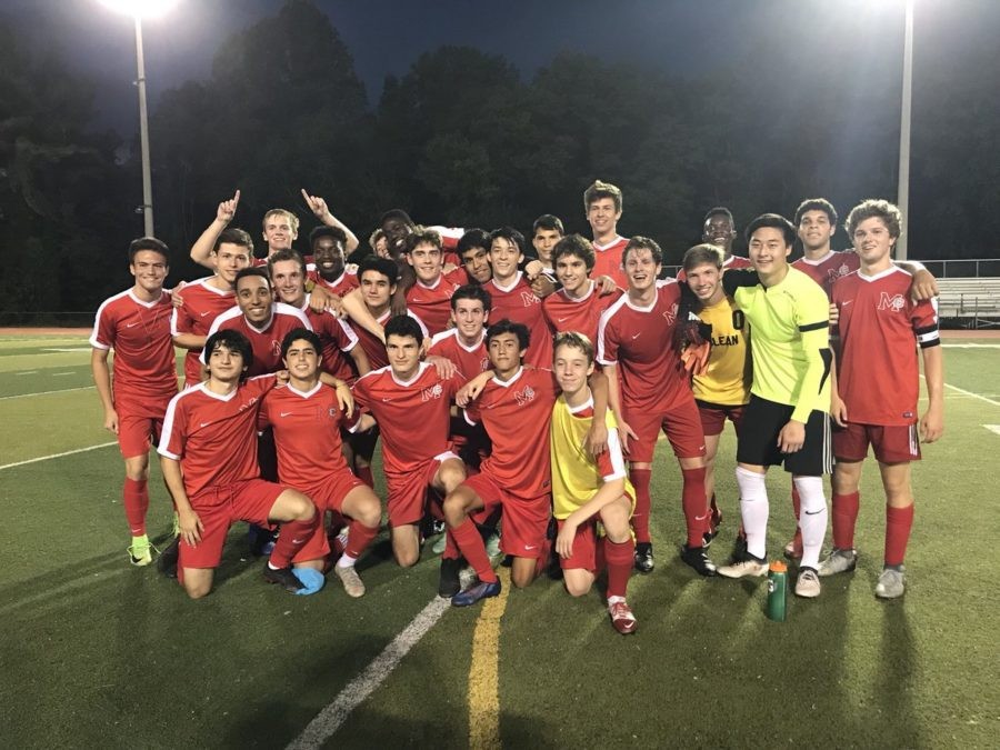 Boys+Varsity+soccer+team+after+they+beat+Osbourn+1-0+in+overtime.+The+boys+were+ecstatic+to+move+on+to+the+next+round+of+regionals.+%28Photo+courtesy+of+McLean+High%29