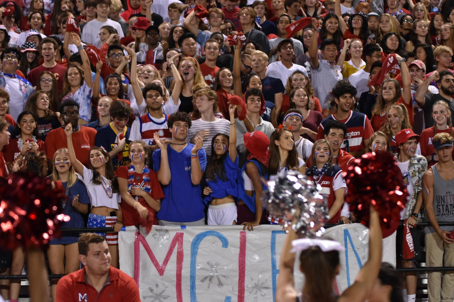 McLean students fill the stands in their USA gear. McLean's cheers could be heard the whole game.