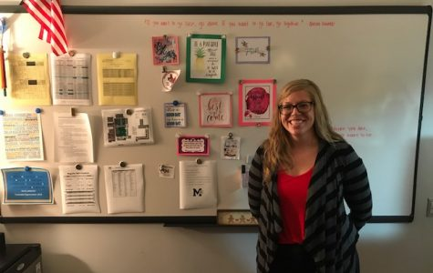 New freshman and sophomore school counselor, Jenna Jablonski, smiles in front of her Inspiration Board. She is looking forward to a great school year at MHS.
