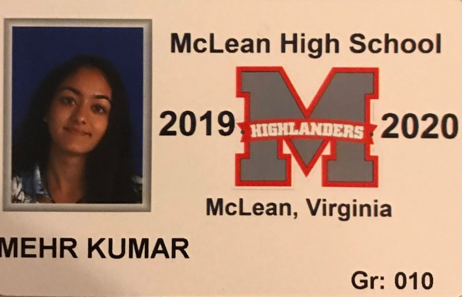 Sophomore Mehr Kumar's student ID.  She was one of many students who was left feeling unsatisfied by picture day 2019.