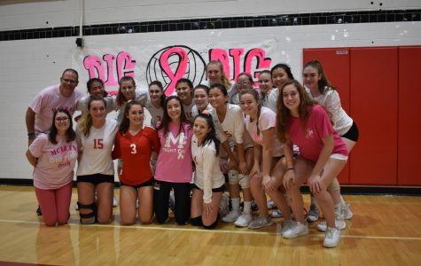 Varsity volleyball win during Dig Pink event