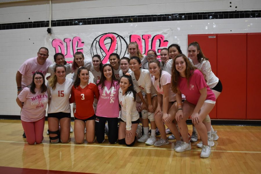 The+Varsity+Volleyball+team+after+their+win+against+Yorktown+on+Thursday.+%28Photo+courtesy+of+Isaac+Lamoreaux%29+