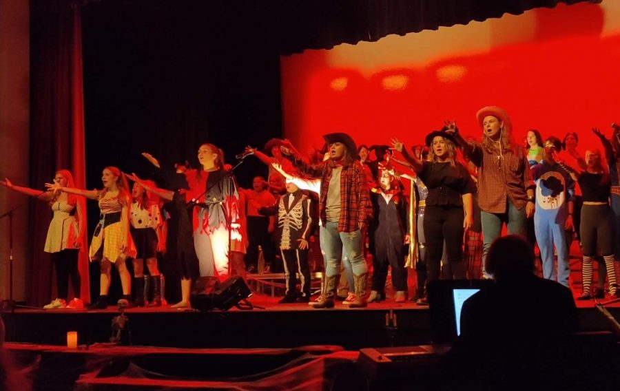 Chorus+preforms+%22The+Ballad+of+Sweeney+Todd%22+at+Halloween-themed+concert.+They+are+all+decked+out+in+costumes+for+the+event.+