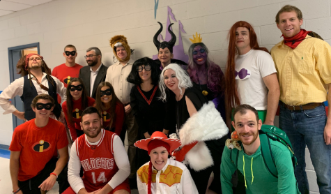 After fierce competition, the social studies department wins the staff Halloween costume contest.  The department dressed up as Disney villains and heroes this year.