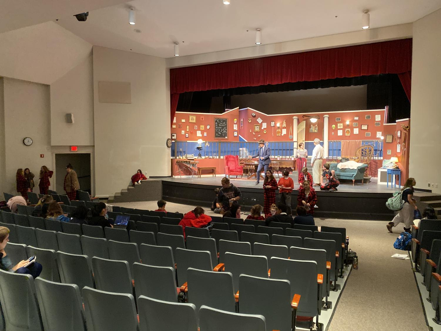 The production team readies for the show's preview on Wednesday. Even for a smaller performance, they need to make sure everything is working properly for the show to succeed.
