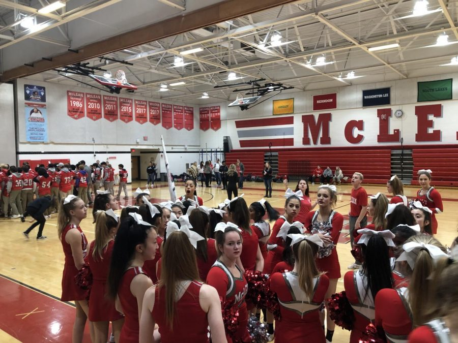 McLean%27s+Cheer+team+prepares+for+pep+rally.+Photo+by+Kyle+Hawley.++