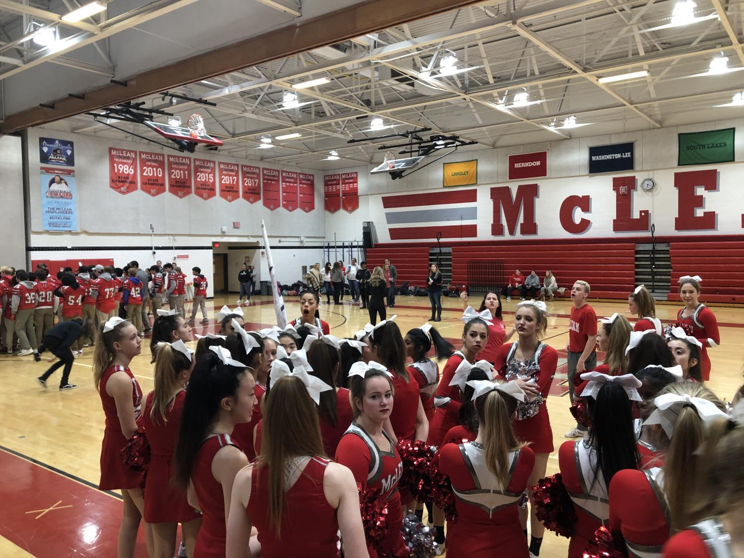 McLean's Cheer team prepares for pep rally. Photo by Kyle Hawley.