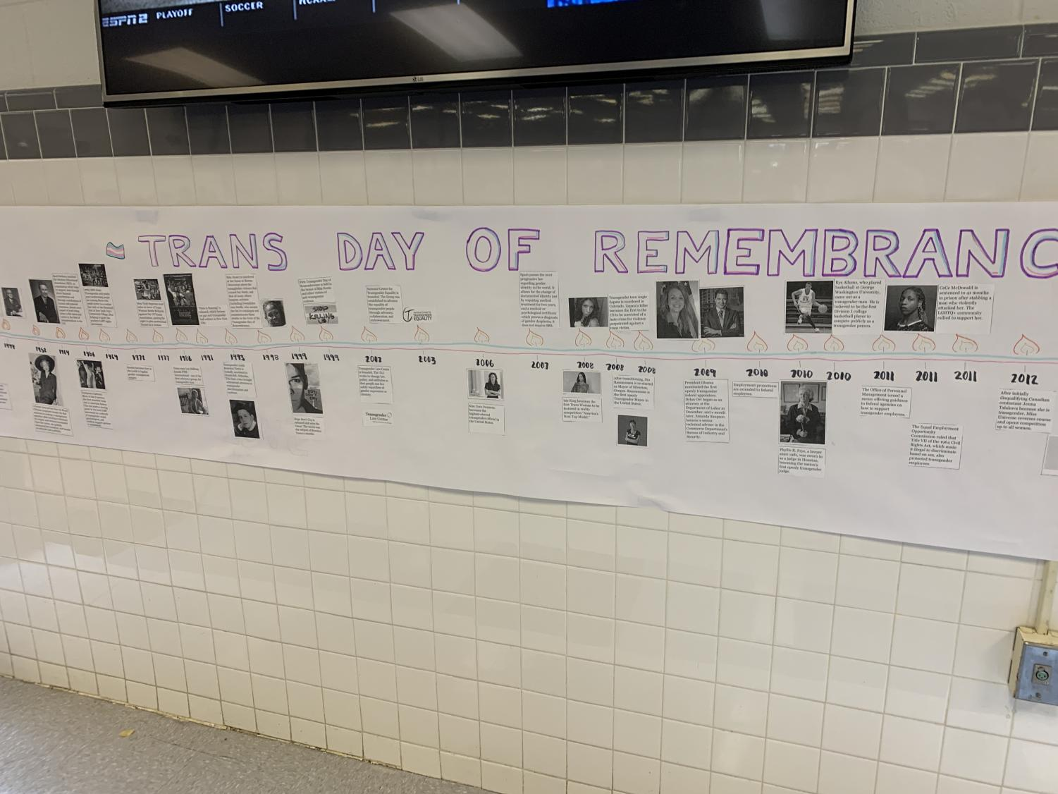 The Trans Day of Remembrance timeline hangs in a central location in the cafeteria.