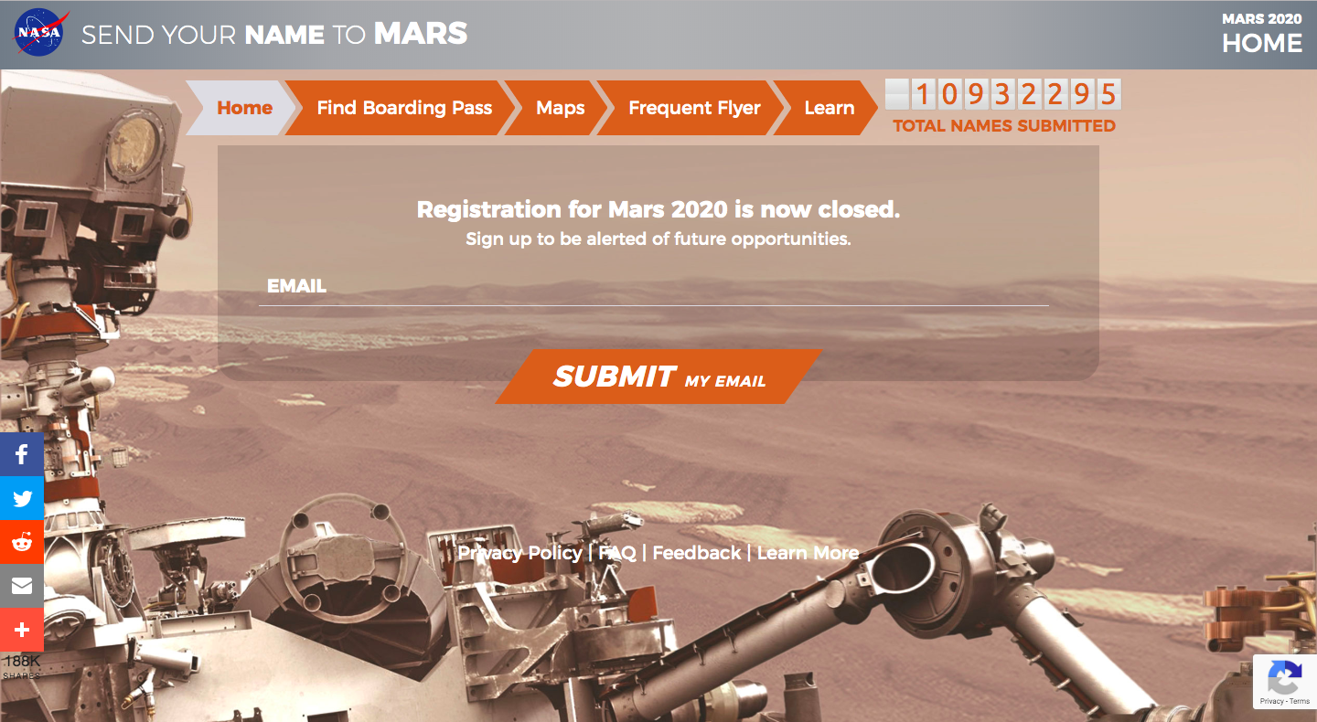 Shown is the registration site for the opportunity to have one's name inscribed on a rover. However, signups are closed as of Sept. 30. Photo obtained via NASA.gov